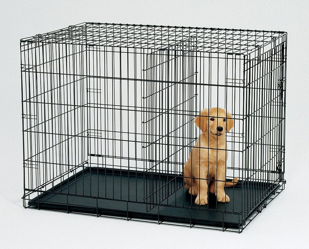 48' Collapsible Metal Dog Puppy Crate Cat Cage With Divider