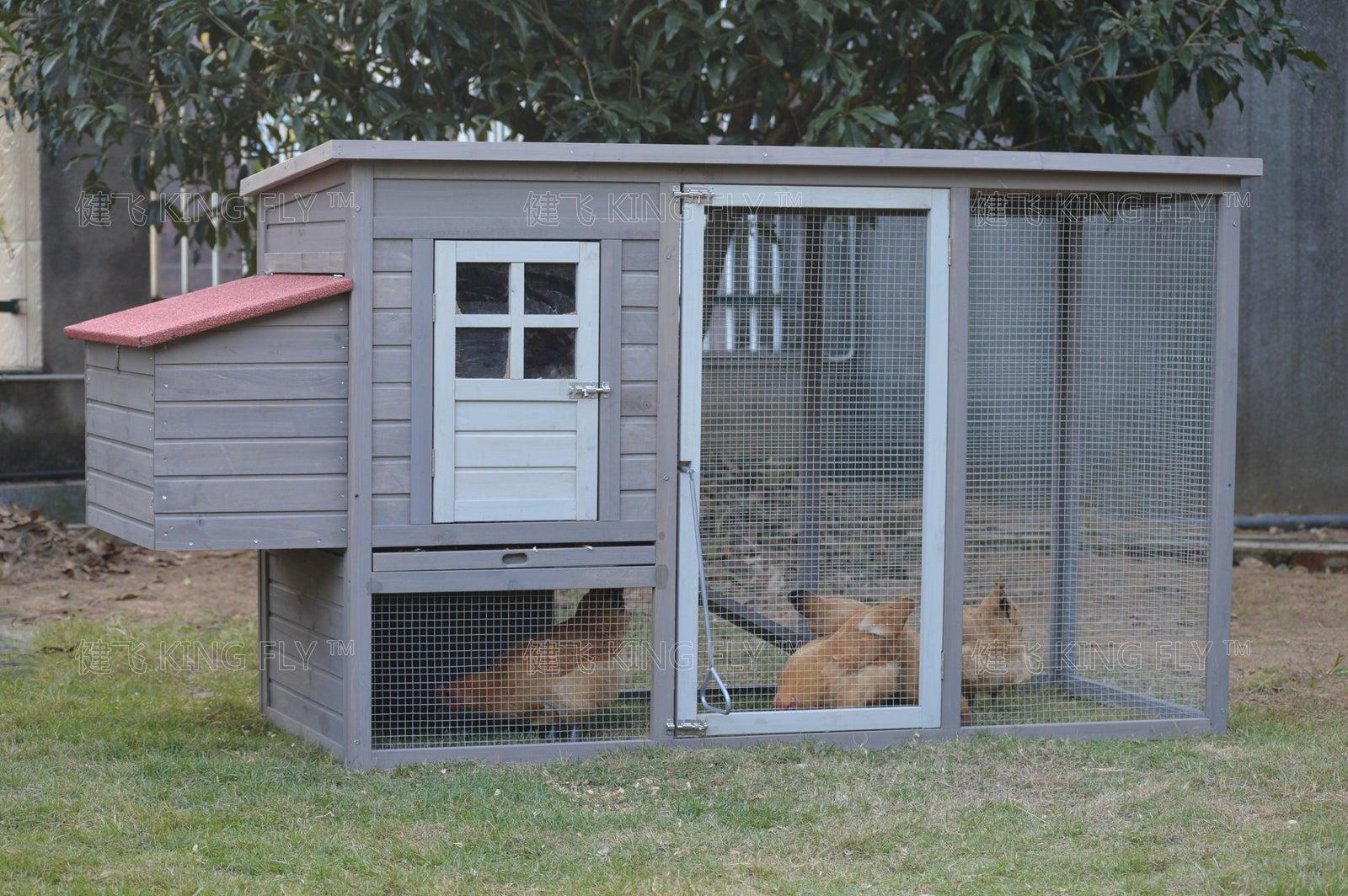 Grey Large Chicken Coop Rabbit Hutch Ferret Cage Hen Chook Cat House