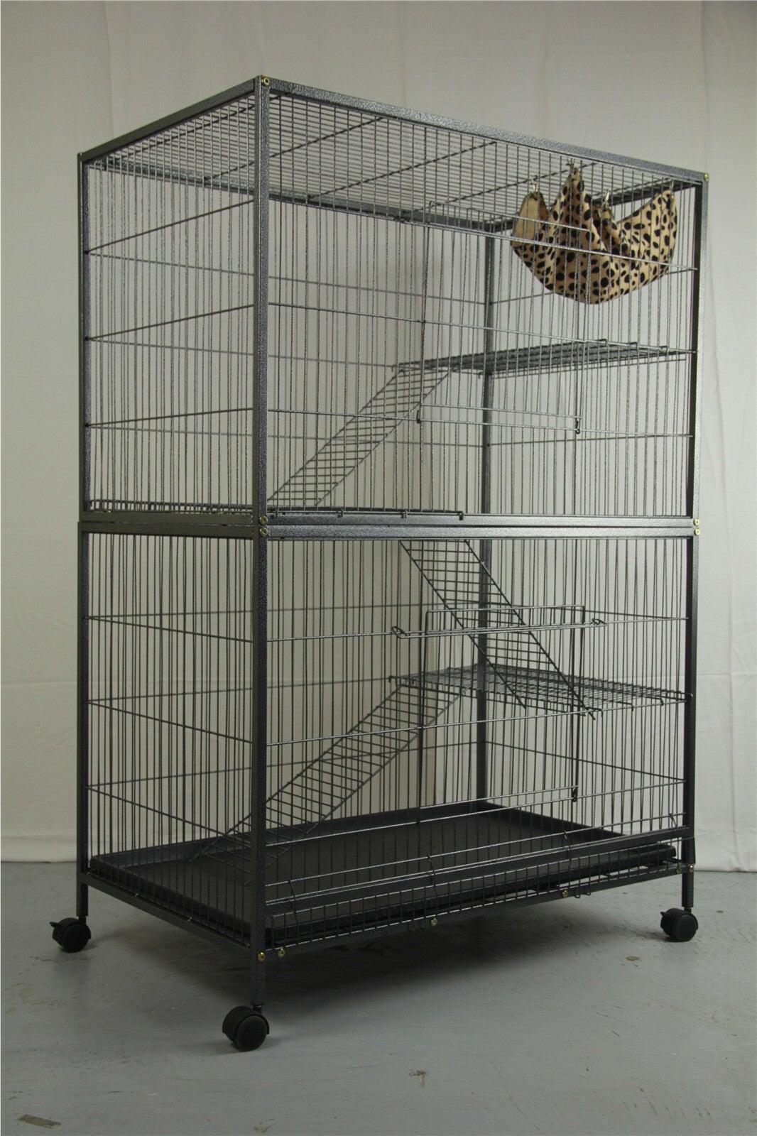 Pet 140cm 4 Level Bird Ferret Parrot Cage Aviary Cat Budgie Hamster Castor