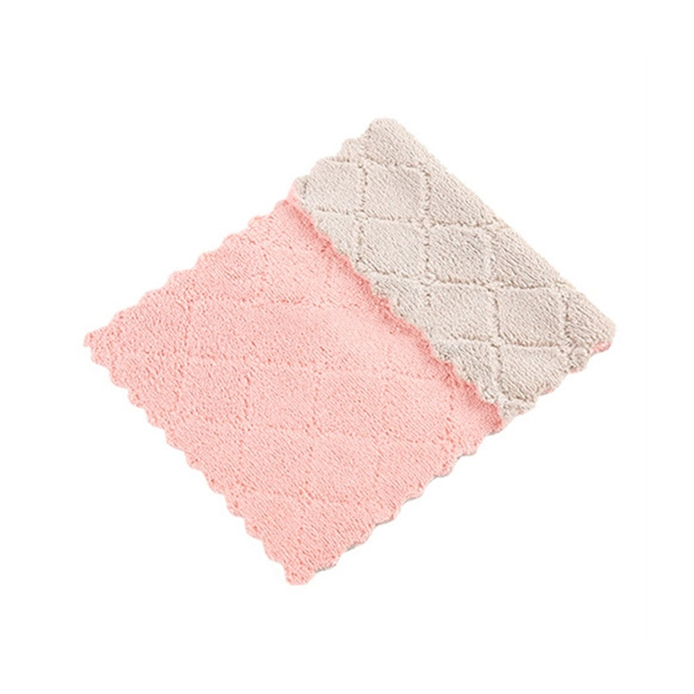 17 PCS Household Kitchen Towels Absorbent Thicker Double-layer Microfiber Wipe Table Kitchen Towel Cleaning Dish Washing Cloth(Pink Coffe)