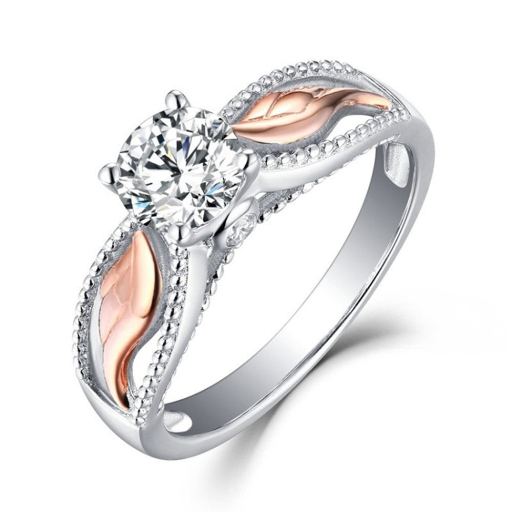 2 Pcs Zircon Angel Of Wing Part Rose Gold Ring Alloy Double Color Crystal Ring, Ring Size:6