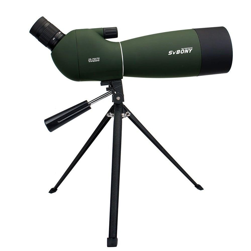 25-75x70mm Spotting Scope SV28 Telescope Continuous Zoom BK7 Prism MC Lens Waterproof Hunting Monocular +Tripod F9308B