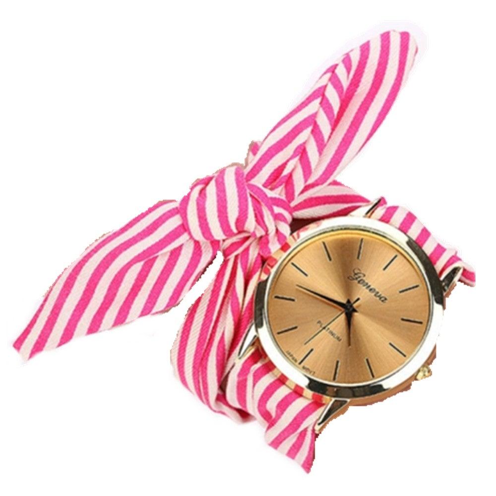 2PC Women Fashion Striped Fabric Strap Quartz Watch(Rose red)