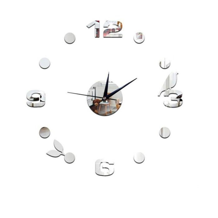 2PCS Art Wall Clock Background Wall Stickers TV Wall Stickers 3D Bird Leaves Wall Clock Home Accessories