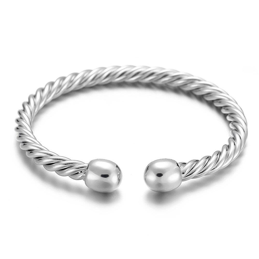 2PCS Europe and America Style Female Brass-plating Jewelry Silver Garlic Magnetic Health Open Bracelet, Size: 8mm*17cm(Silver)