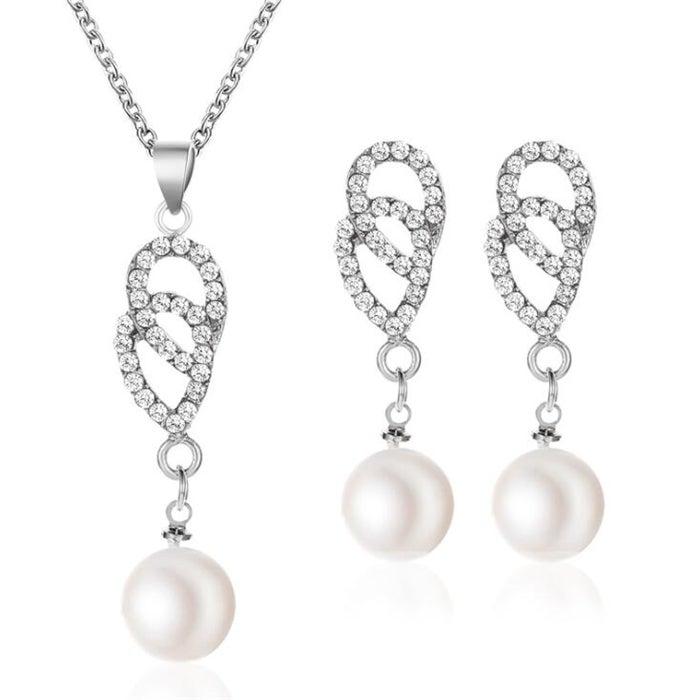 3Set Elegant Double Ring Pearl Pendant Necklace Hook Earrings Set Wedding for Women