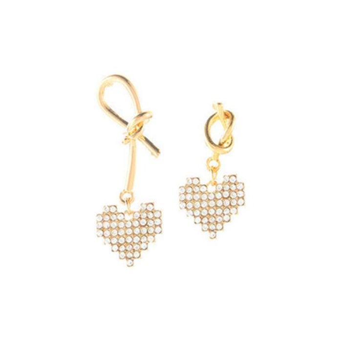 4 Pair Women Fashion Asymmetric Full Diamond Heart Earrings