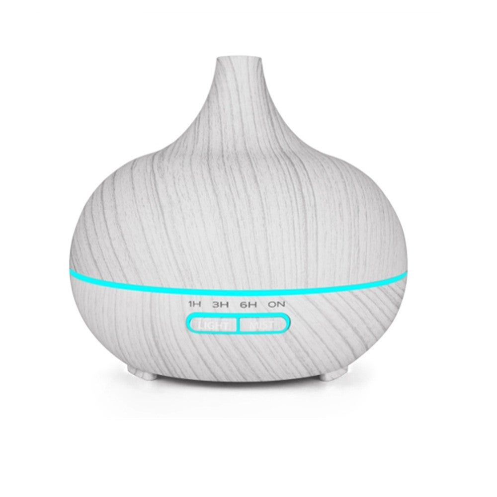 400ml Wood Texture Fragrance Machine Pointed Mouth Humidifier with Colorful LED Light