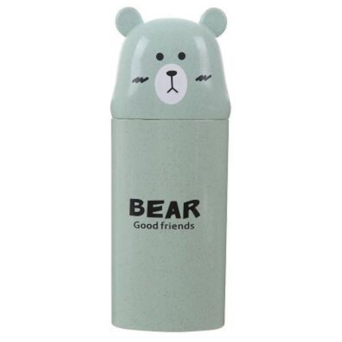 6PCS Cute Cartoon Bear Wash Cup Portable Cover Toothbrush Toothpaste Storage Box