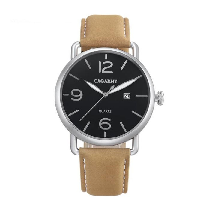 Living Waterproof Round Dial Quartz Movement Alloy Case Fashion Watch Quartz Watches with Leather Band