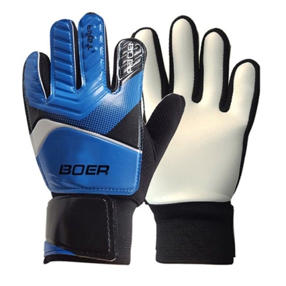 Outdoor Football Anti-slip Embossed Gloves for Entry-level Children Goalkeeper, Size:L(Blue)
