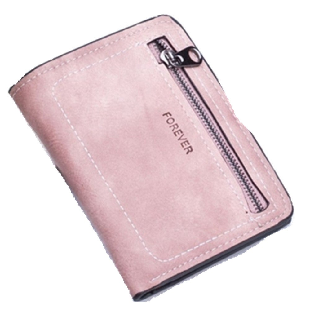 Simple Sewing Thread Fashion Letter Short Wallet(Pink)
