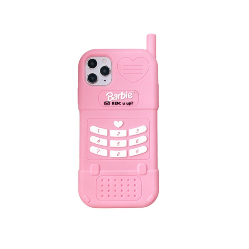 Three-dimensional Pink Barbie Big Brother Big Silicone Protective Cover for IPhone12 12pro (6.1)