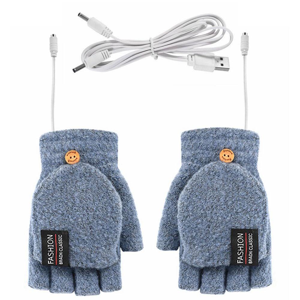 Unisex Acrylic Fiber Winter Electric USB Heated Warm Half Finger Gloves Mittens Portable Half-finger Electric Heating Gloves
