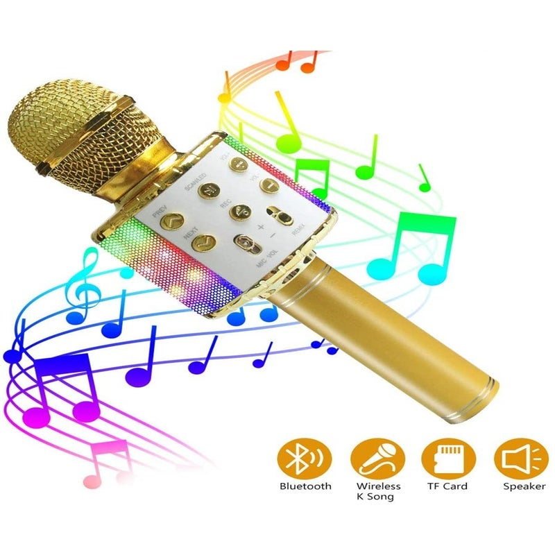 Wireless Bluetooth Karaoke Microphone with LED Light-5 in 1 Portable Microphone for Children, Best Gifts Toys for 4 6 8 10 12 Year Old Girls Boys