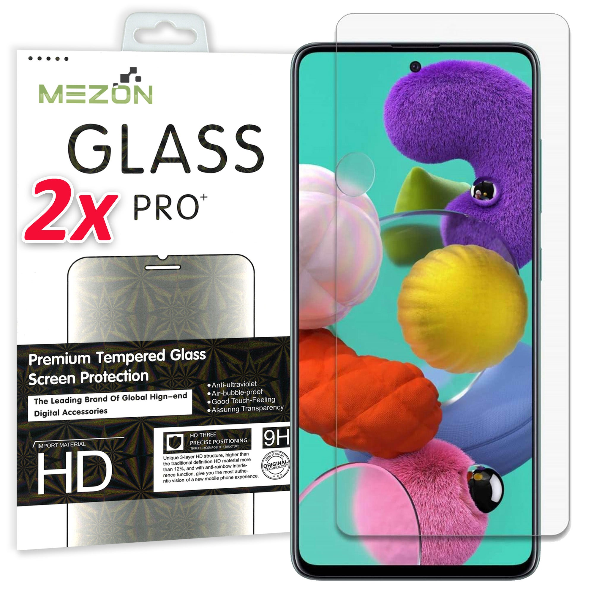 [2 Pack] Samsung Galaxy A51 Tempered Glass Crystal Clear Premium 9H HD Screen Protector by MEZON – Case Friendly, Shock Absorption (A51, 9H)