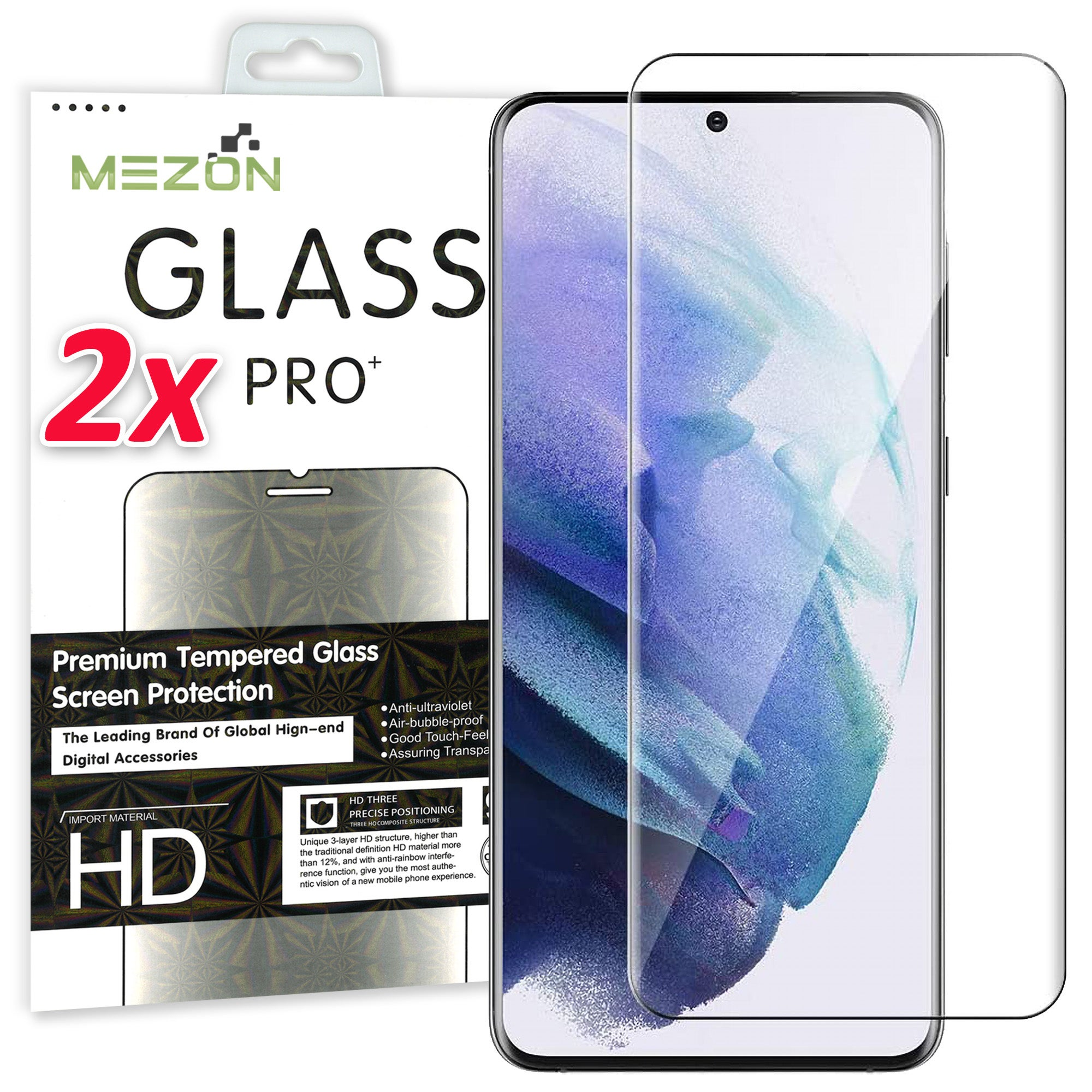 [2 Pack] Samsung Galaxy S21+ 5G Tempered Glass Crystal Clear Premium 9H HD Screen Protector by MEZON – Case Friendly, Shock Absorption (S21+, 9H)