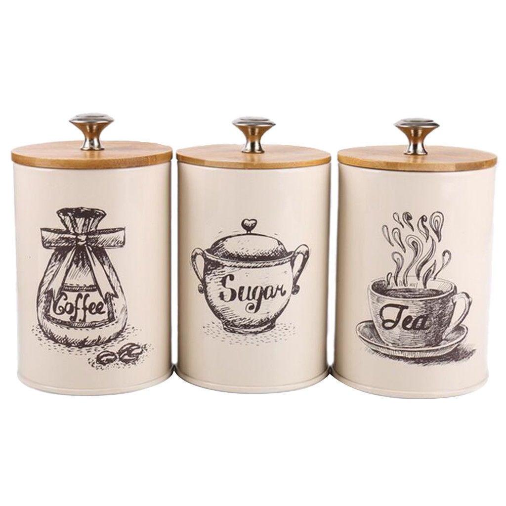 3Pcs Retro Tea Coffee Jars