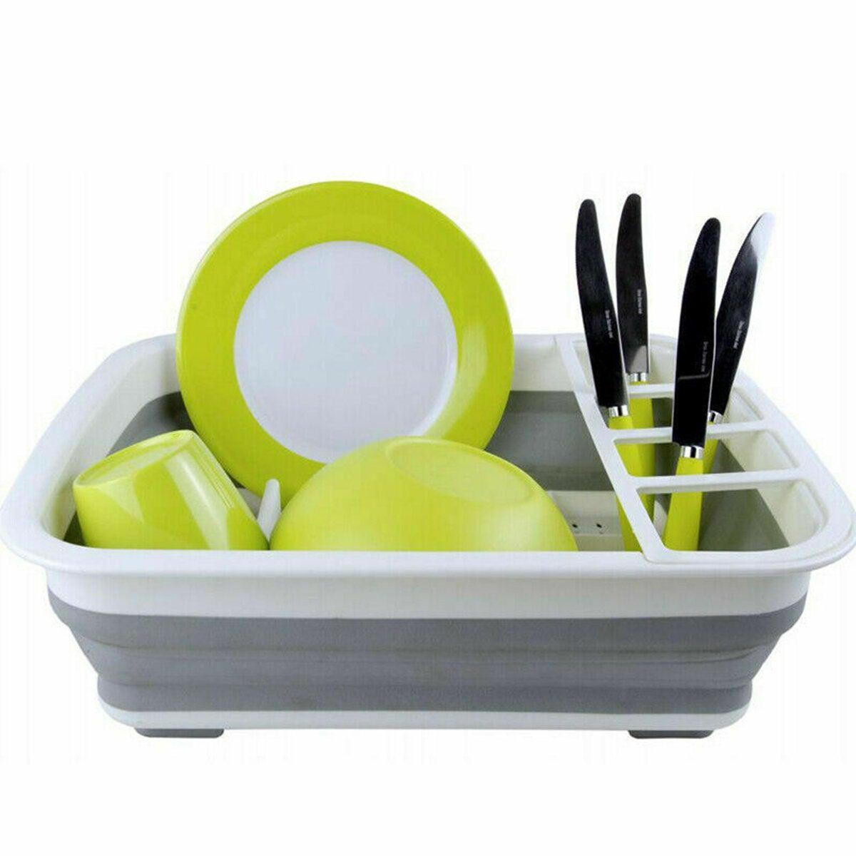 Foldable Dish Drain Rack Kitchen Desktop Storage Shelf