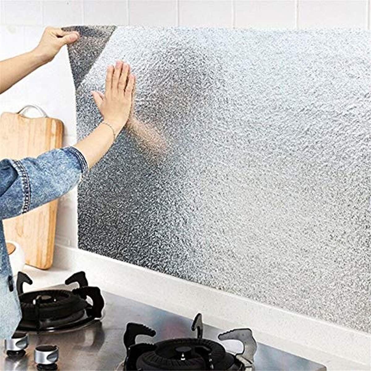 Kitchen Aluminum Foil Stickers Oil Proof Waterproof