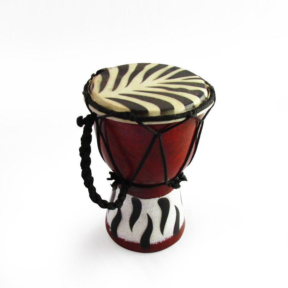 15cm High, Wooden Bongo with Goat Skin in a Zebra Print and Zebra Print at Base