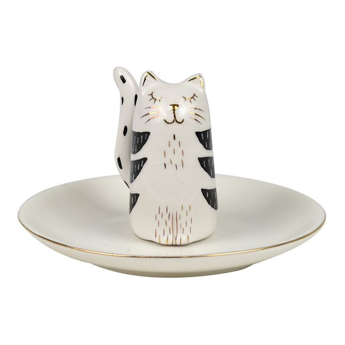1pce 12cm Colin Cat Trinket Plate For Rings, Jewellery White & Black Ceramic Bath