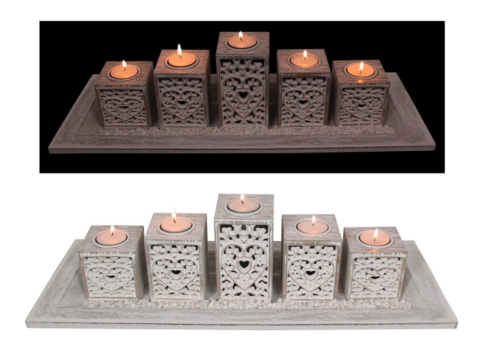 1pce 50cm Heart Filigree 5pce Candle Holder in Gift Box Boho Style