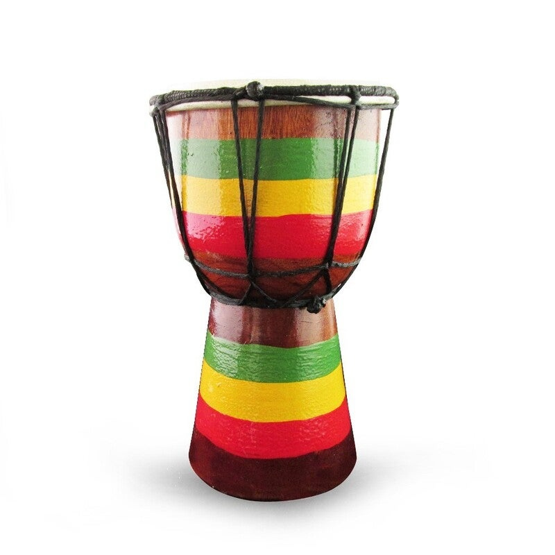 20cm High, Wooden Bongo Drum with Goat Skin with Rusta Flag Painted on Base