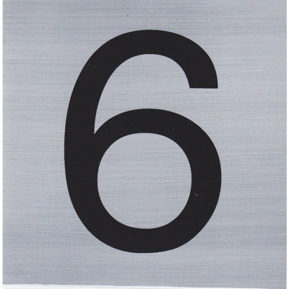 HOUSE NUMBER 6 10x10cm, Brush Stainless Steel Look, Self Adhesive