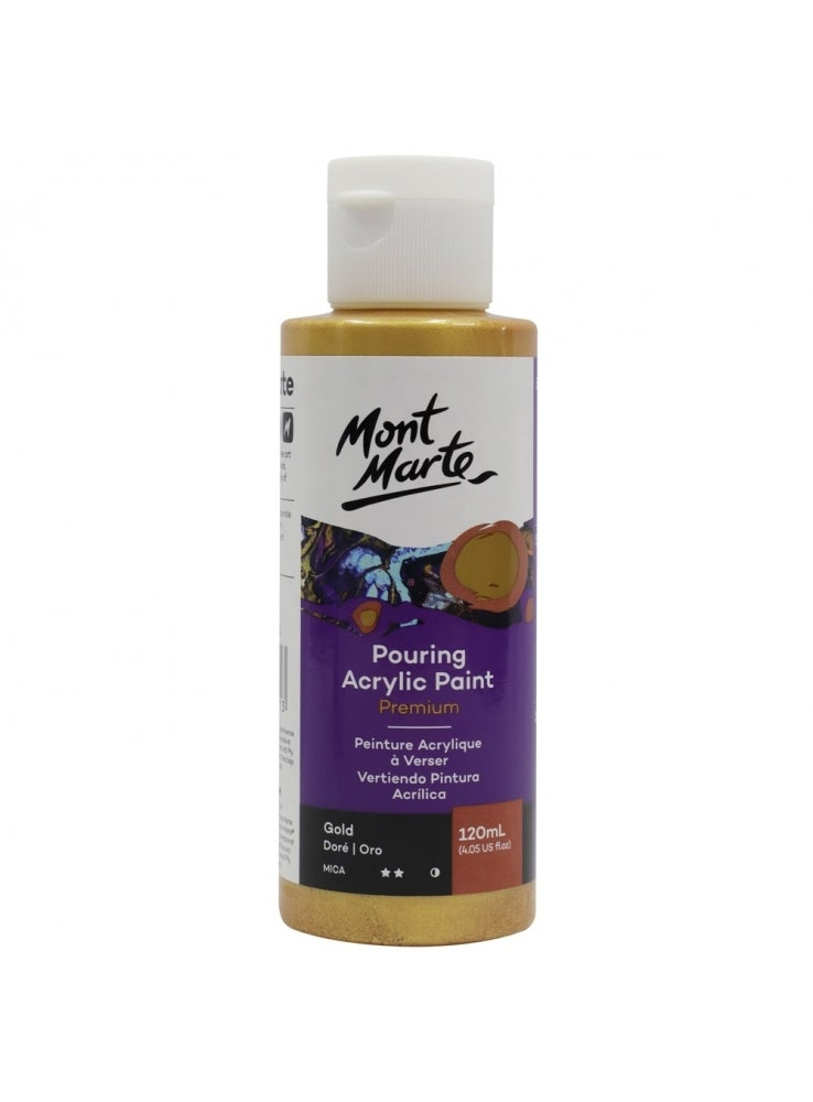 Mont Marte Pouring Paint Acrylic 120ml - Gold for Fluid Art