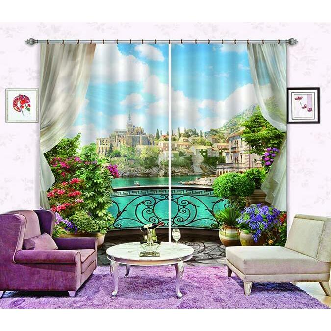 3D Curtain Balcony Town Scenery 746 Blockout Photo Curtain Printing Curtains Drapes Fabric Window