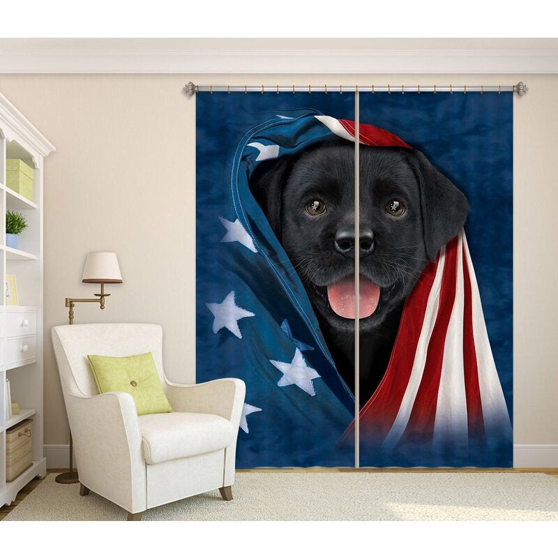 3D Curtain Cute Dog 002 Vincent Hie Curtain Blockout Photo Curtain Printing Curtains Drapes Fabric Window