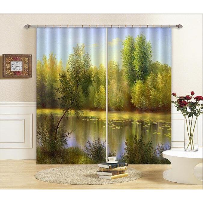 3D Curtain Lake Scenery 665 Blockout Photo Curtain Printing Curtains Drapes Fabric Window
