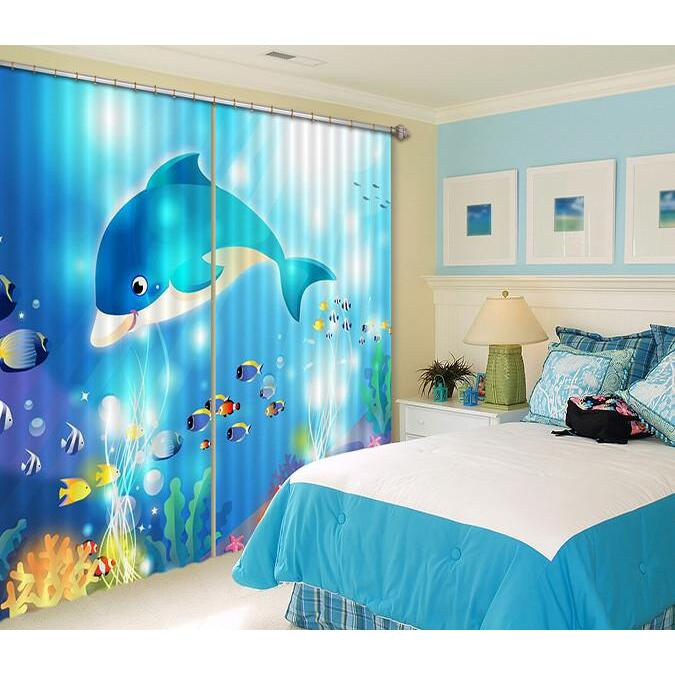 3D Curtain Lovely Dolphin 420 Blockout Photo Curtain Printing Curtains Drapes Fabric Window