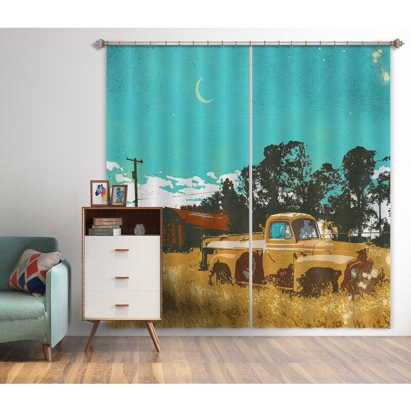 3D Curtain Prairie Car 043 Showdeer Curtain Blockout Photo Curtain Printing Curtains Drapes Fabric Window