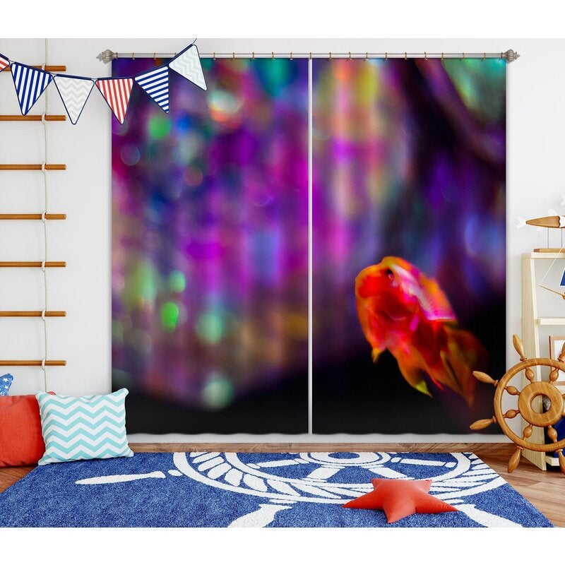 3D Curtain Rainbow Fish 037 Noirblanc777 Curtain Blockout Photo Curtain Printing Curtains Drapes Fabric Window