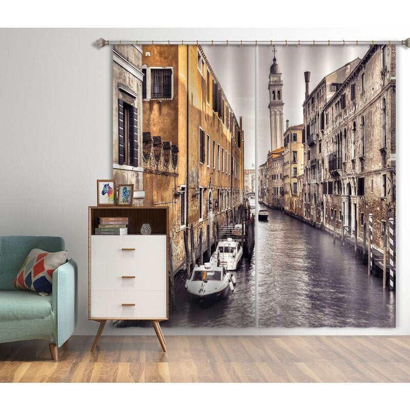3D Curtain River Boat 005 Assaf Frank Curtain Blockout Photo Curtain Printing Curtains Drapes Fabric Window