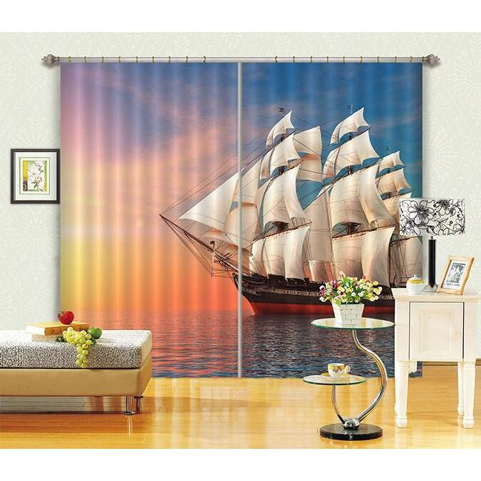 3D Curtain Sea Sailing Ship 439 Beach Blockout Photo Curtain Printing Curtains Drapes Fabric Window