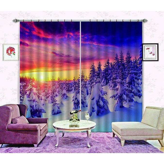 3D Curtain Snow Forest Warm Sunset 650 Blockout Photo Curtain Printing Curtains Drapes Fabric Window