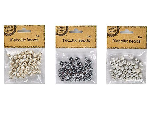 Metallic Beads - 3 Assorted - Gold/Black/Silver