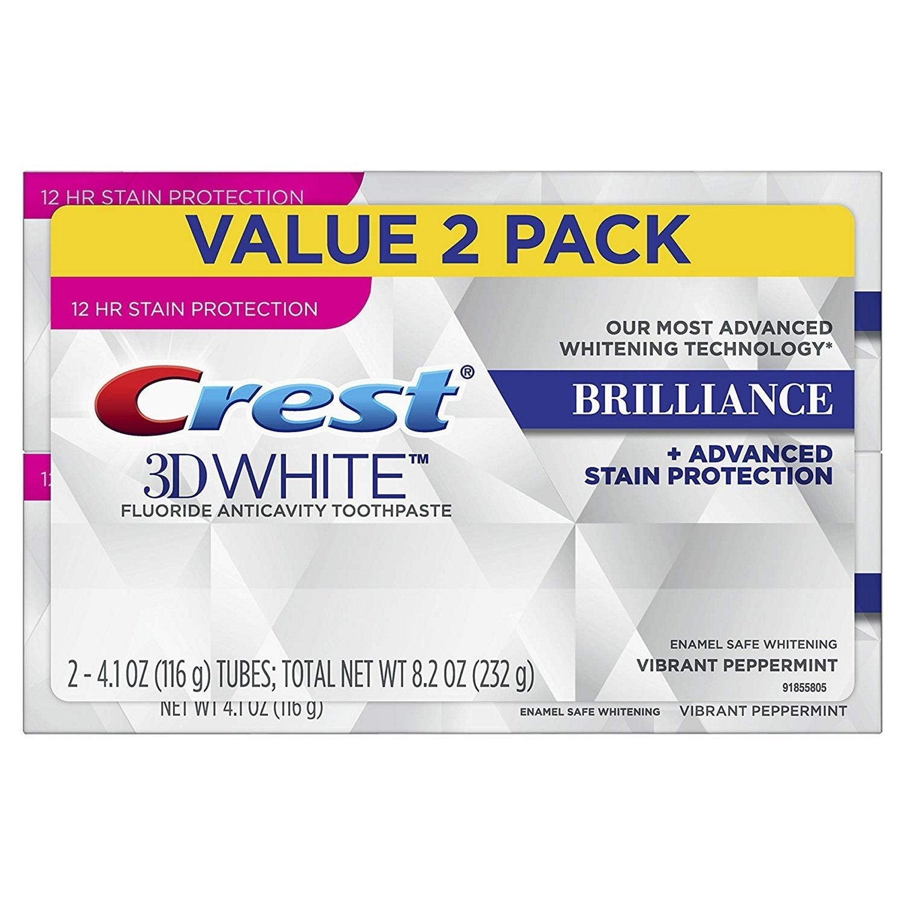 Crest 3D White Brilliance Toothpaste 116g (2 Pack)