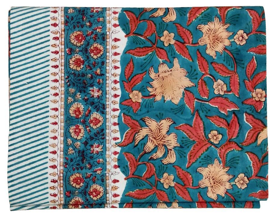 Blue/cherry cotton block print tablecloth 170x270 cm