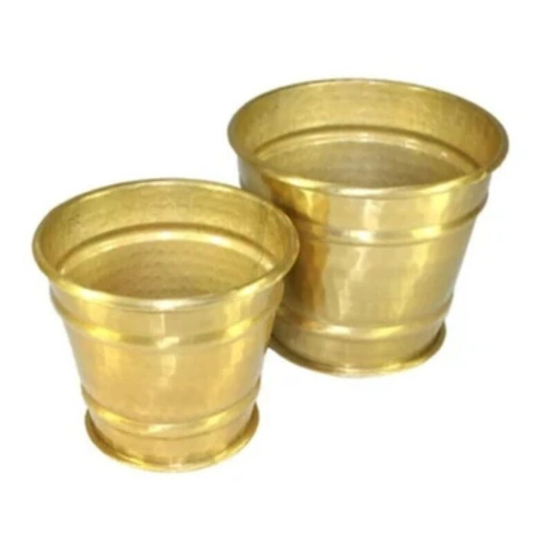 Golden Planter Pots S/2