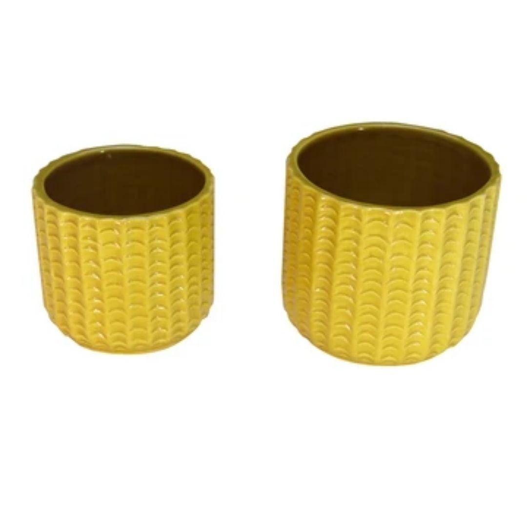 Yellow Planter Pots S/2