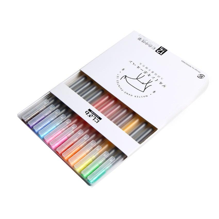 12 Colour Gel Ink Pen 0.38mm Creative MUJI Style School Office Gift DIY Bookmark