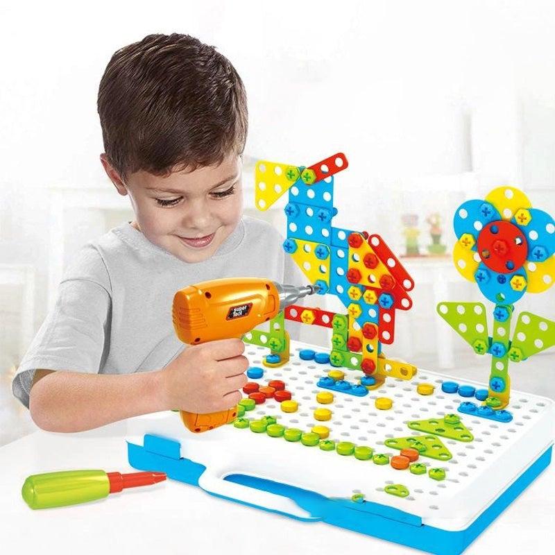 237PCS Mosaic Building Blocks Peg Electric Drill Assemble Toy Set Christmas BB