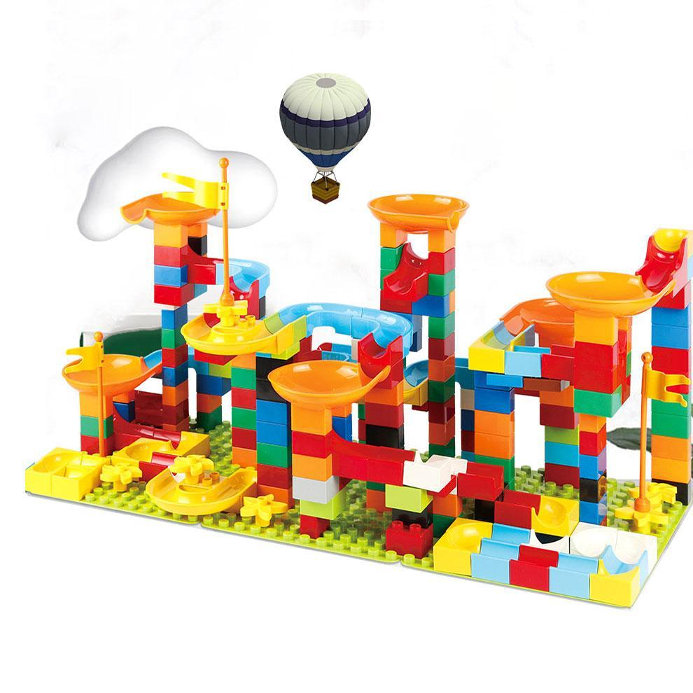 240Pc Duploed Marble Track Toy Set - Building Blocks Maze Ball Track Preschool Toy Kids