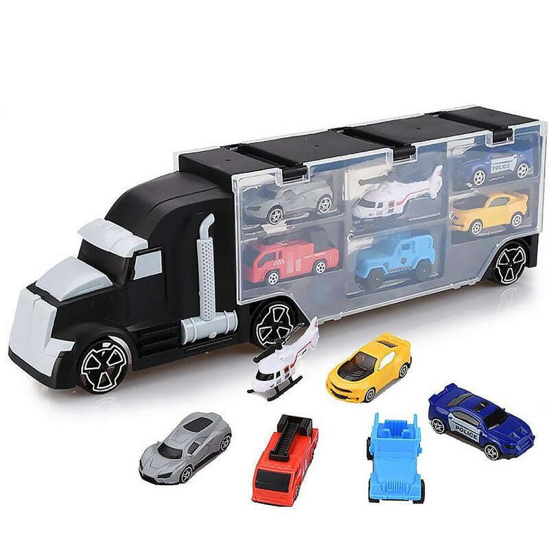 Car Carrier Transport Play Set Vehicle Kids Boy Gift Toy 6 Cars Helicopter Model