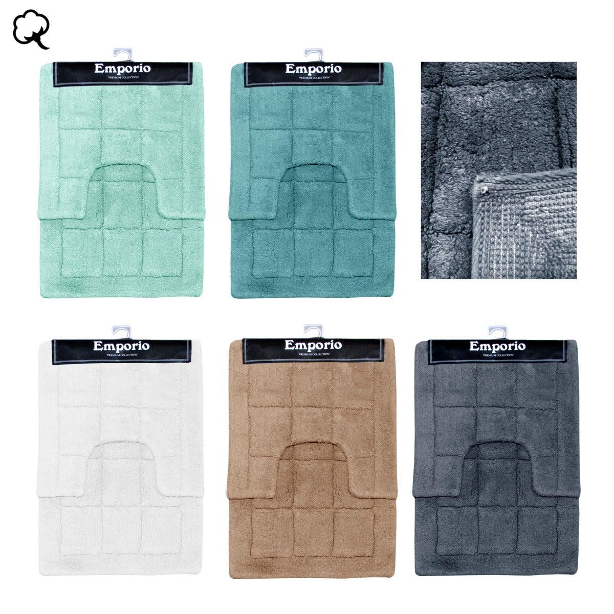 2 Pce Brick 100% Cotton Bath Mat & Contour Set