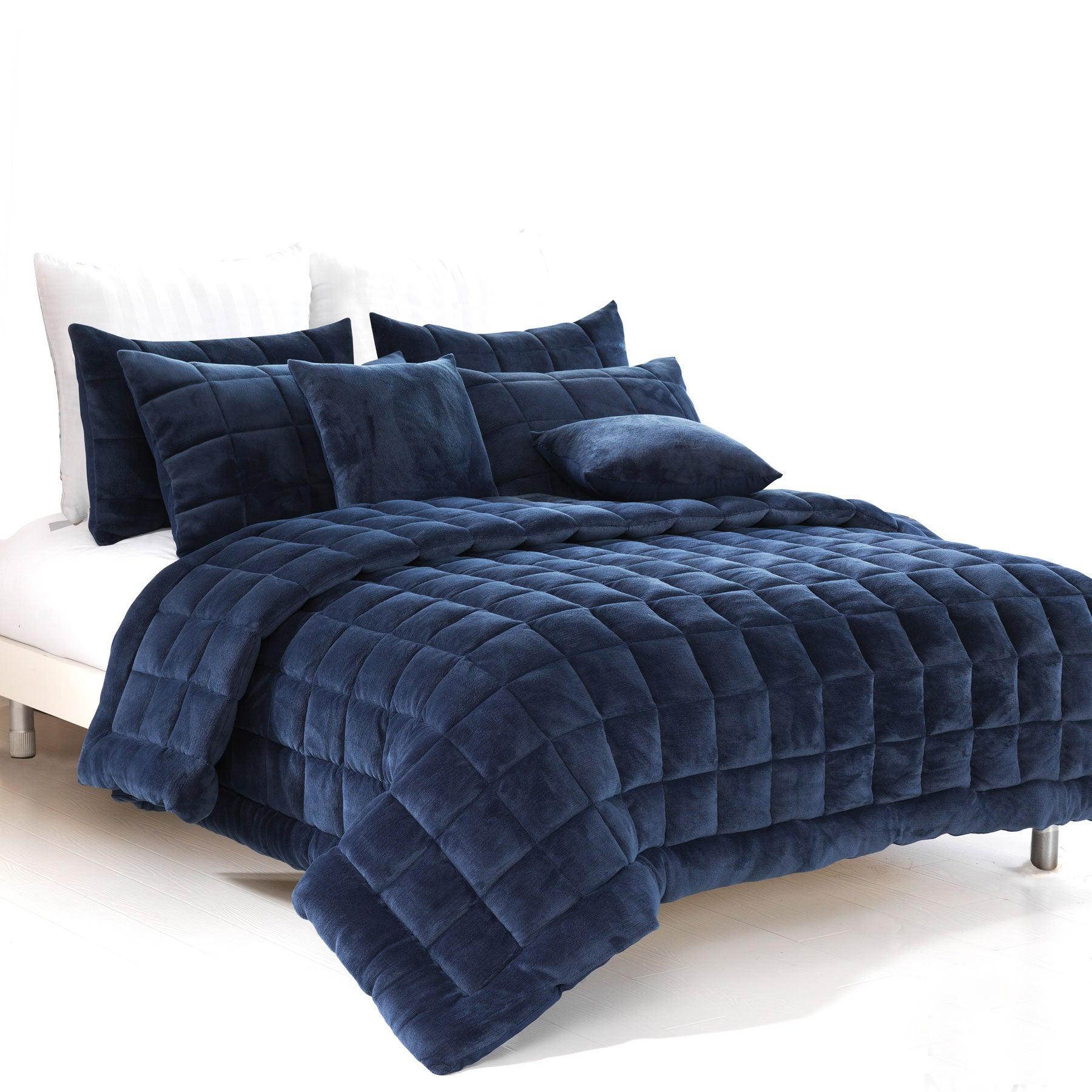 Augusta Faux Mink Quilt/Bedding Set Navy